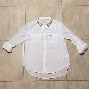 Hollister Sheer Collared Long Sleeve Shirt